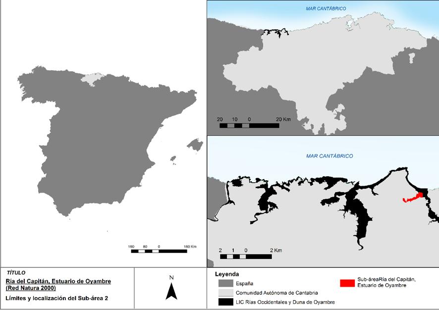Localización de la ría del Capitán (estuario de Oyambre)